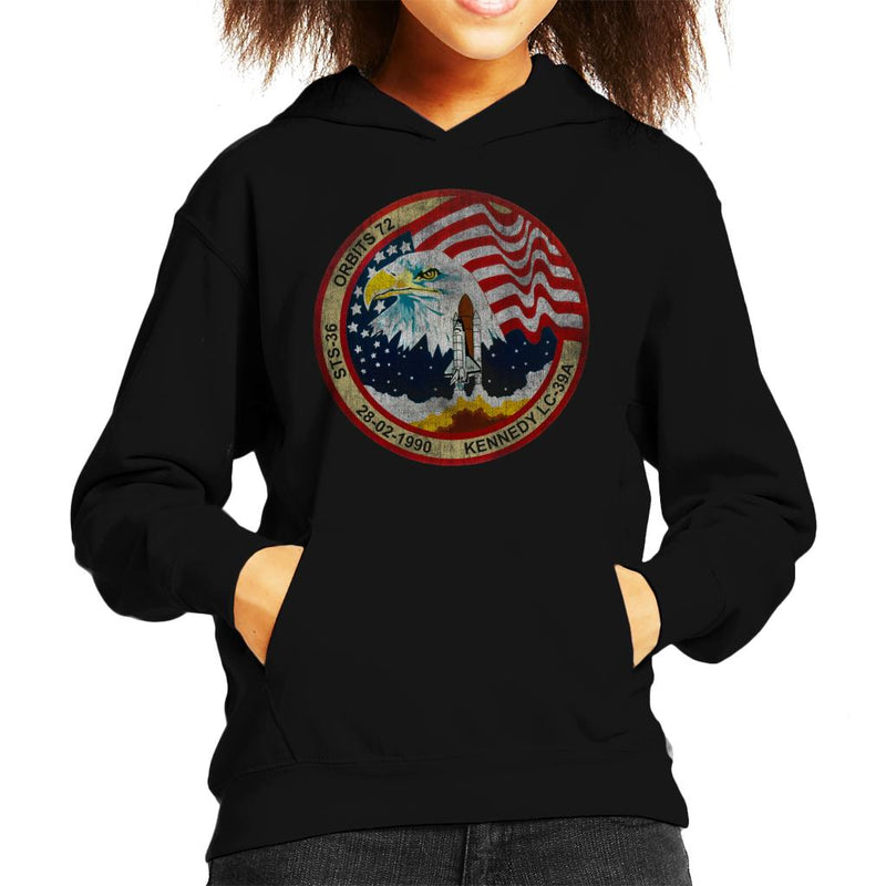 NASA STS 36 Atlantis Mission Badge Distressed Kid's Hooded Sweatshirt - POD66