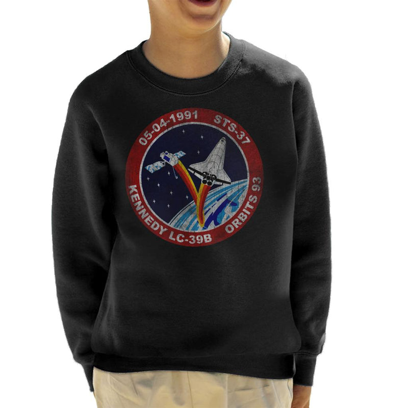 NASA STS 37 Atlantis Mission Badge Distressed Kid's Sweatshirt - POD66