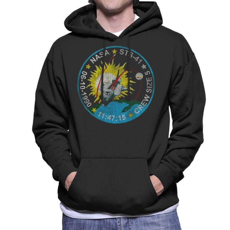 NASA STS 41 Discovery Mission Badge Distressed Men's Hooded Sweatshirt - POD66