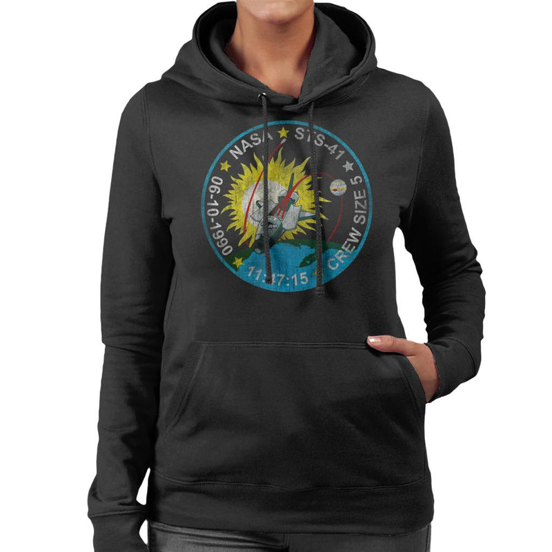 NASA STS 41 Discovery Mission Badge Distressed Women's Hooded Sweatshirt - POD66