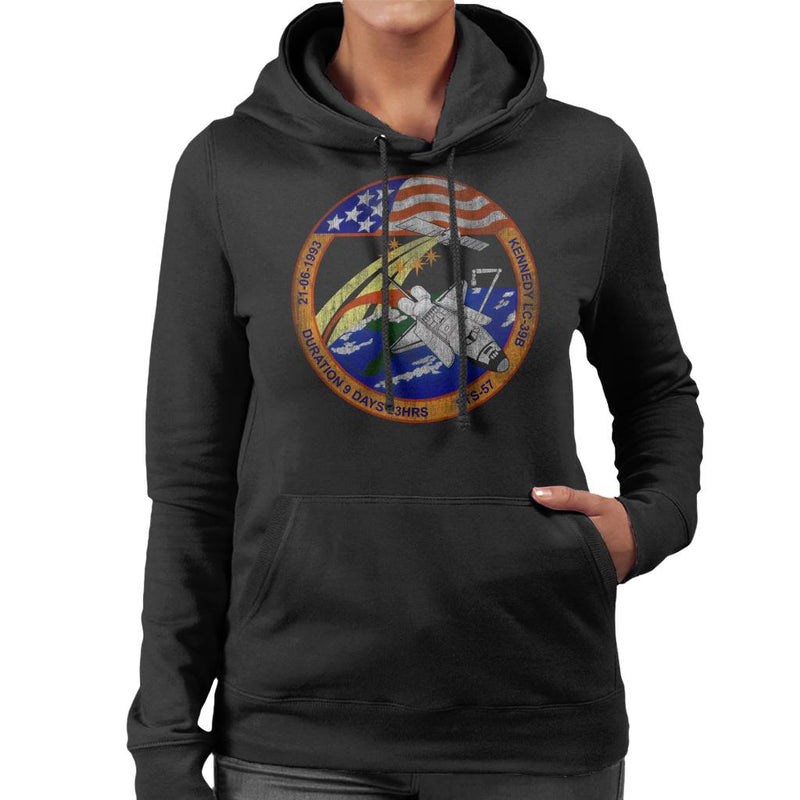 NASA STS 57 Endeavour Mission Badge Distressed Women's Hooded Sweatshirt - POD66