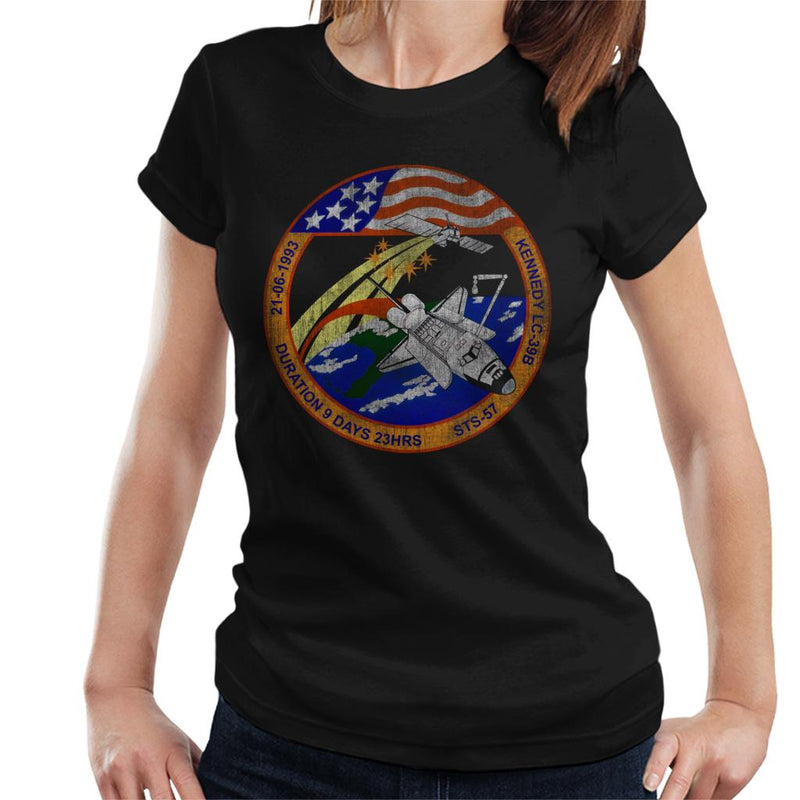 NASA STS 57 Endeavour Mission Badge Distressed Women's T-Shirt - POD66