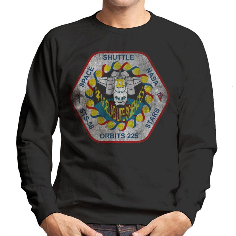 NASA STS 58 Columbia Mission Badge Distressed Men's Sweatshirt - POD66