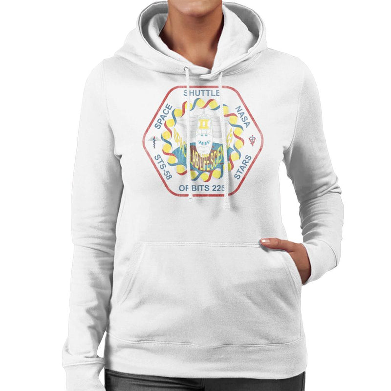 NASA STS 58 Columbia Mission Badge Distressed Women's Hooded Sweatshirt - POD66