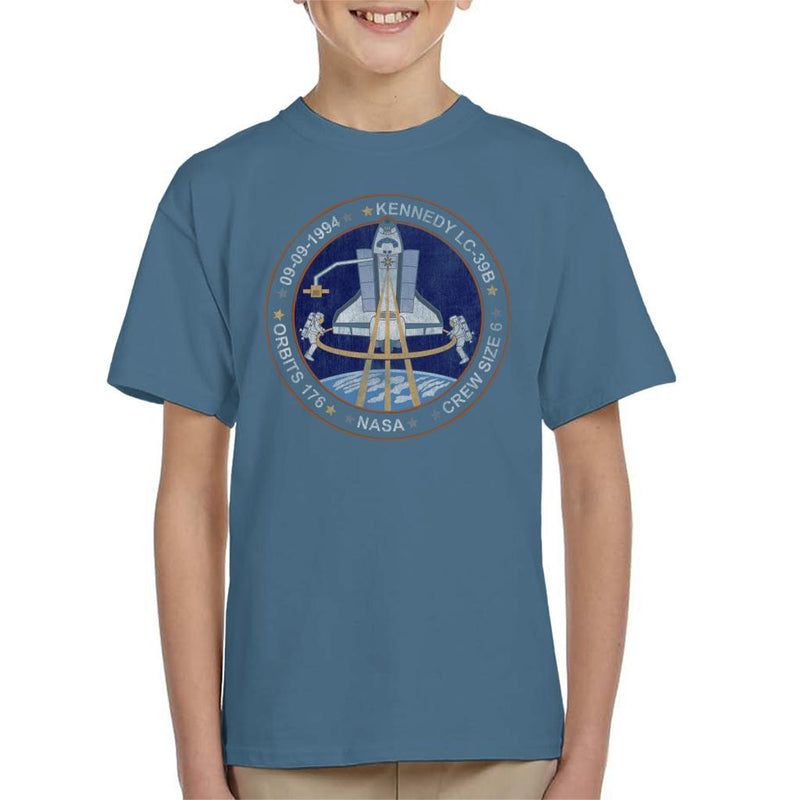 NASA STS 64 Discovery Mission Badge Distressed Kid's T-Shirt - POD66