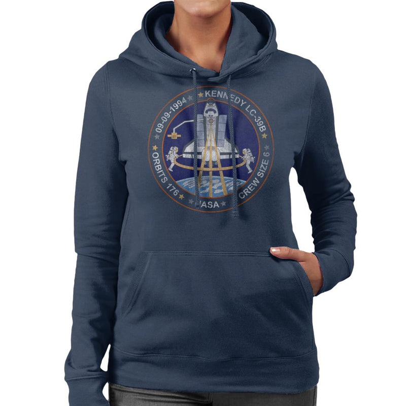 NASA STS 64 Discovery Mission Badge Distressed Women's Hooded Sweatshirt - POD66