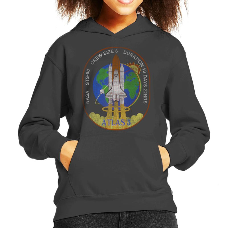 NASA STS 66 Atlantis Mission Badge Distressed Kid's Hooded Sweatshirt - POD66