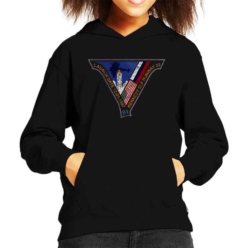 NASA STS 81 Atlantis Mission Badge Distressed Kid's Hooded Sweatshirt - POD66