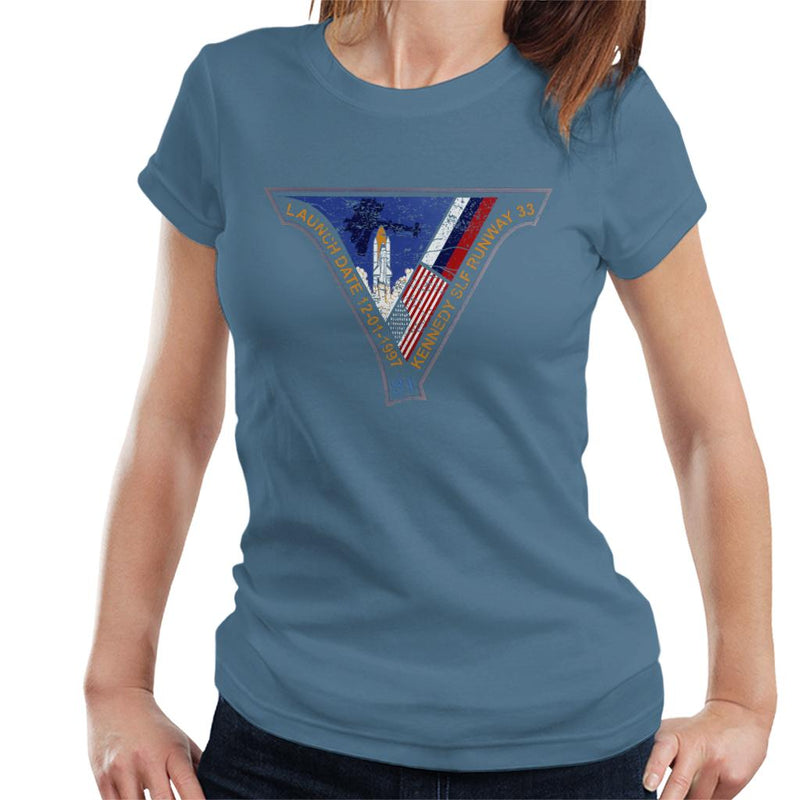 NASA STS 81 Atlantis Mission Badge Distressed Women's T-Shirt - POD66