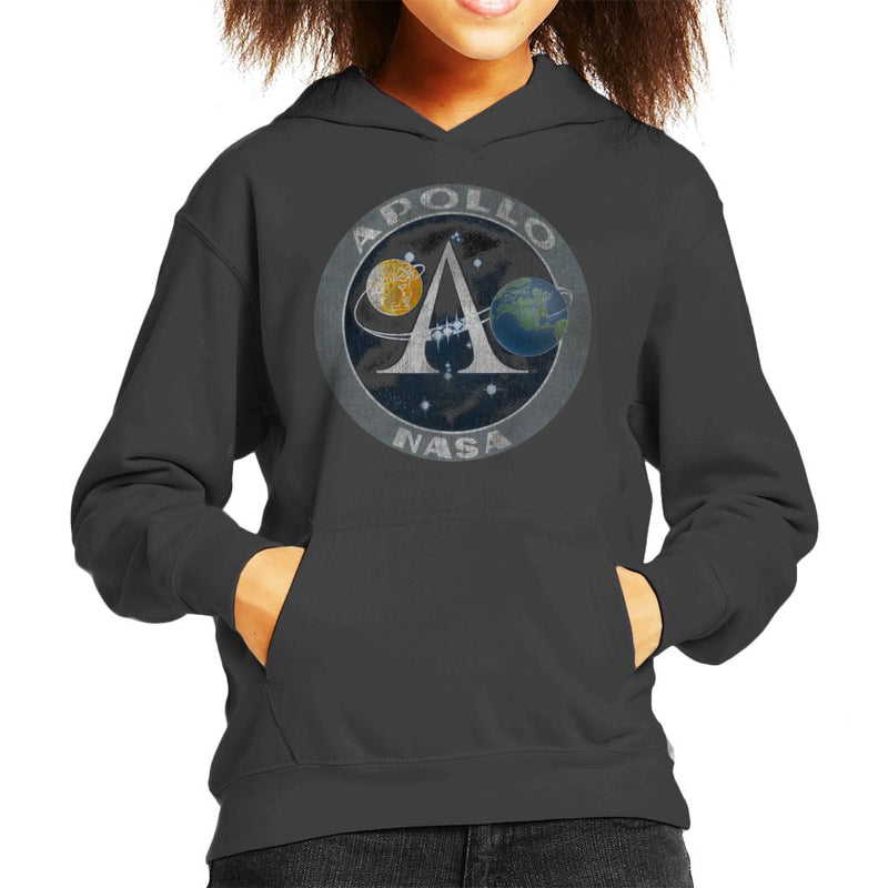 NASA Apollo Program Logo Badge Distressed Kid's Hooded Sweatshirt - POD66