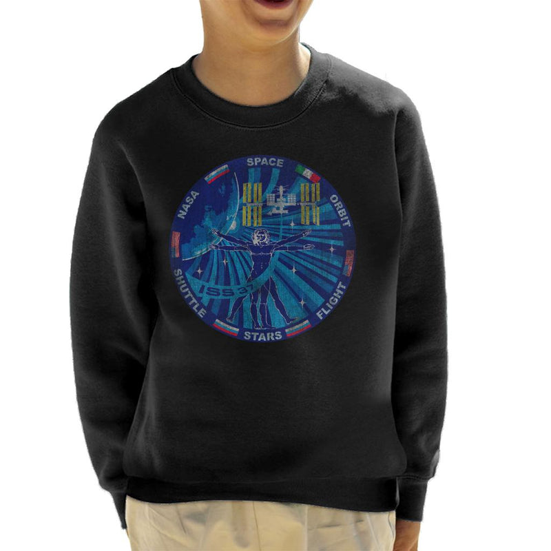 NASA ISS Expedition 37 Mission Badge Distressed Kid's Sweatshirt - POD66