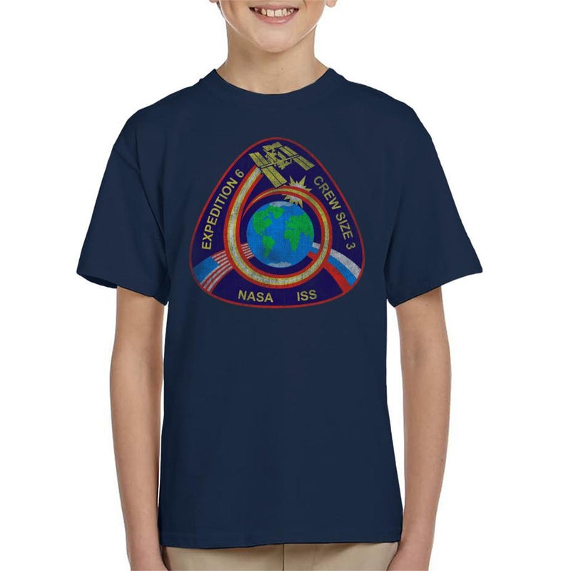 NASA ISS Expedition 6 STS 113 Mission Badge Distressed Kid's T-Shirt - POD66