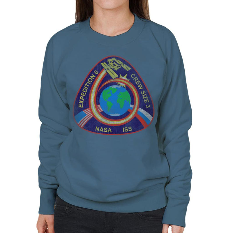 NASA ISS Expedition 6 STS 113 Mission Badge Distressed Women's Sweatshirt - POD66