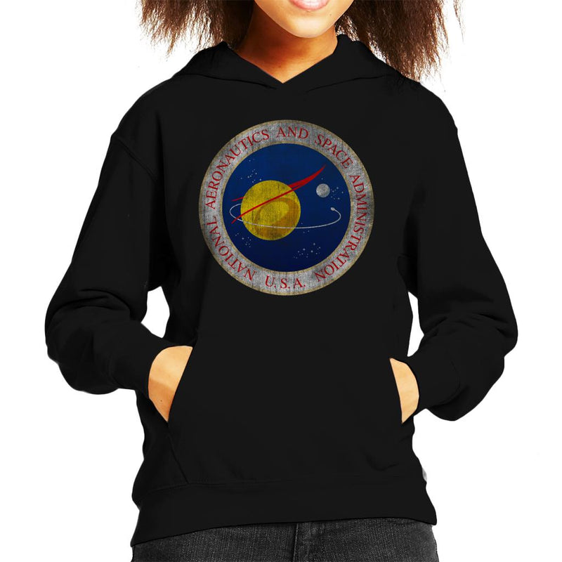NASA Seal Insignia Distressed Kid's Hooded Sweatshirt - POD66