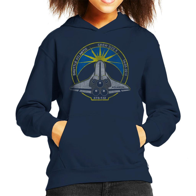 NASA STS 132 Atlantis Mission Badge Distressed Kid's Hooded Sweatshirt - POD66