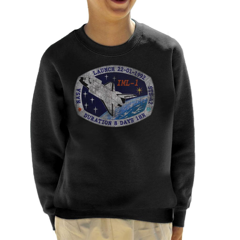NASA STS 42 Discovery Mission Badge Distressed Kid's Sweatshirt - POD66