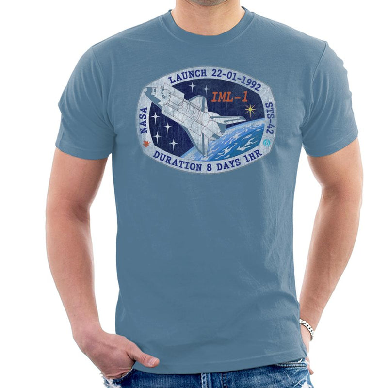 NASA STS 42 Discovery Mission Badge Distressed Men's T-Shirt - POD66