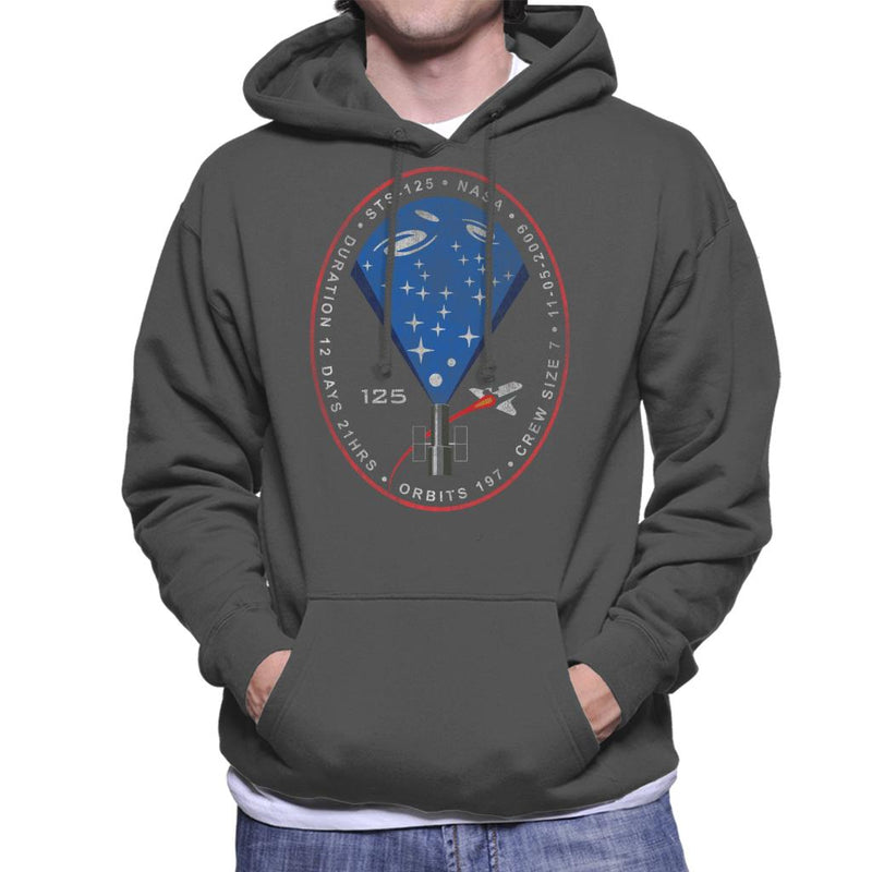 NASA STS 125 Atlantis Mission Badge Distressed Men's Hooded Sweatshirt - POD66