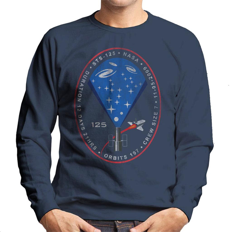 NASA STS 125 Atlantis Mission Badge Distressed Men's Sweatshirt - POD66