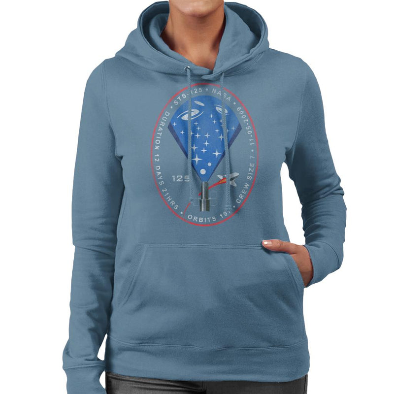 NASA STS 125 Atlantis Mission Badge Distressed Women's Hooded Sweatshirt - POD66