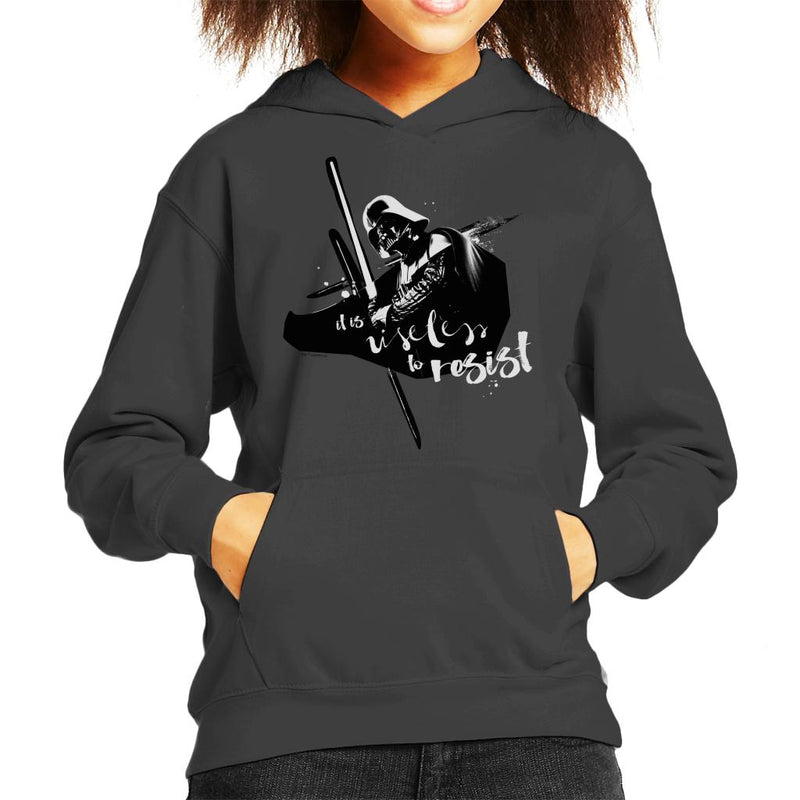 Star Wars Darth Vader It Is Useless To Resist Kid's Hooded Sweatshirt - POD66