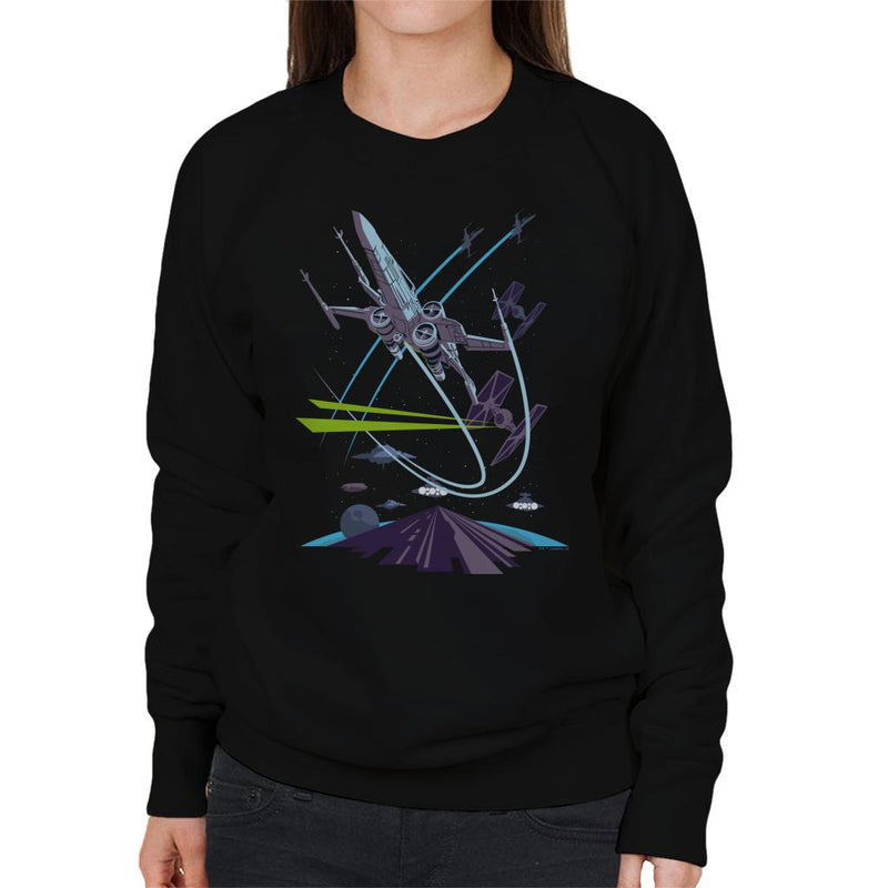 Star Wars X Wing TIE Fighter Chase Women's Sweatshirt - POD66