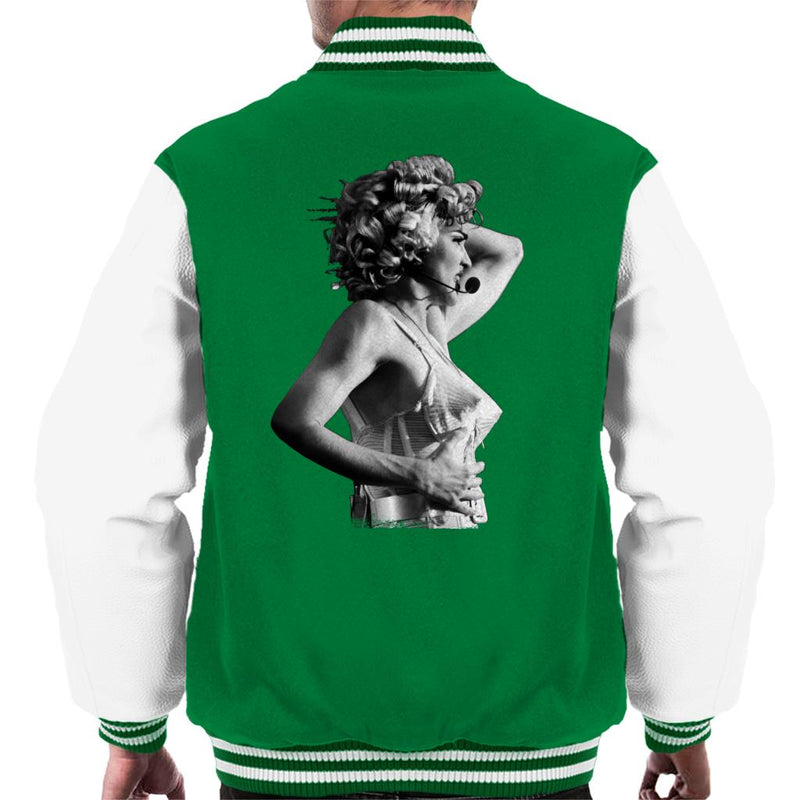 Madonna Black And White Cone Bra Corset Blonde Ambition Tour 1990 Men's Varsity Jacket - POD66