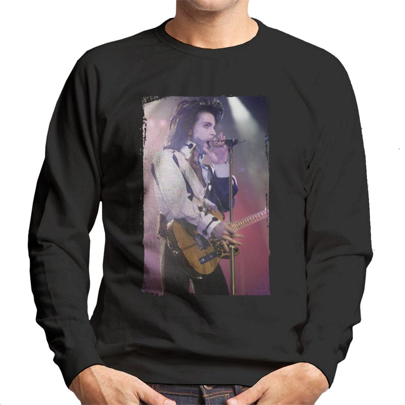 Prince Nude Tour 1991 Performing With Guitar Men's Sweatshirt - POD66