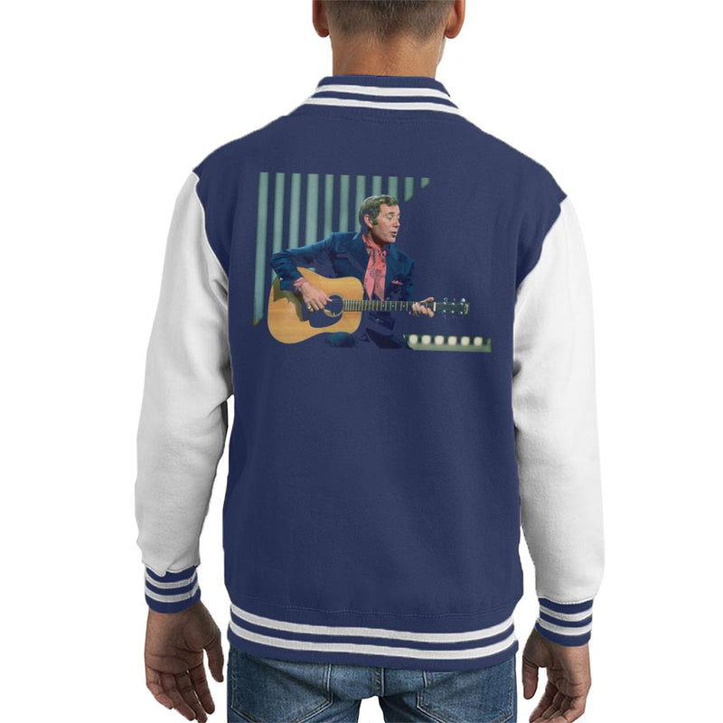 TV Times Val Doonican Playing Guitar 1972 Kid's Varsity Jacket - POD66