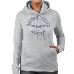 US Airforce Winged Propeller Navy Blue Text Women's Hooded Sweatshirt - POD66