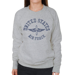 US Airforce Winged Propeller Navy Blue Text Women's Sweatshirt - POD66