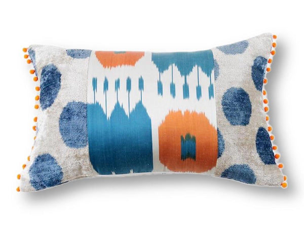 Ikat Orange Pompom Pillow - Letters From Bosphorus