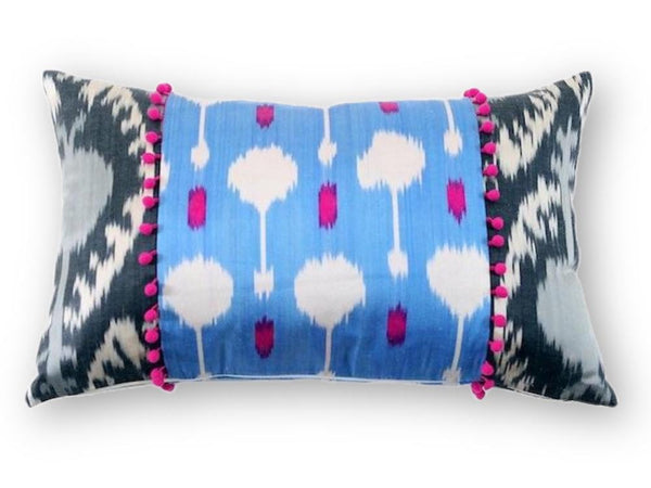Ikat Pink Pompom Pillow - Letters From Bosphorus