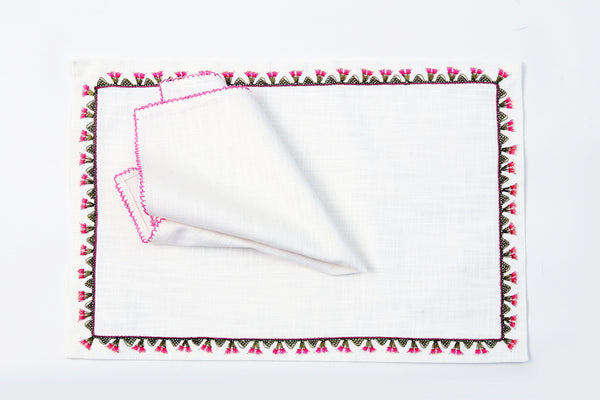 Bells Handmade Needle Lace Place Mat Set
