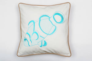 Cotton Clownfish in Turquoise Pillow - Letters From Bosphorus