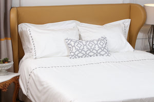 Grey Petite Handmade Lace Duvet Cover Set styling