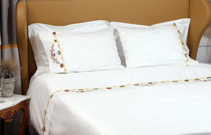 Red Daisy Needle Lace Organic Cotton Bedding Set - Letters From Bosphorus