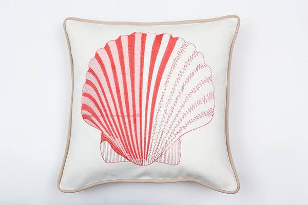 Cotton Scallop in Coral Pillow - Letters From Bosphorus