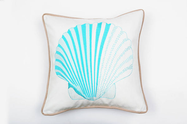 Cotton Scallop in Turquoise Pillow - Letters From Bosphorus