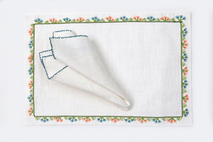 Wildflowers Handmade Needle Lace Place Mat Set - Letters From Bosphorus