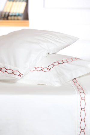 Angular Mania Red Organic Cotton Sheet Set - Letters From Bosphorus