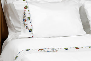 Blue Daisy Needle Lace Organic Cotton Bedding Set - Letters From Bosphorus