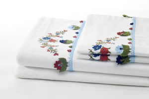 blue joy sheet set folded