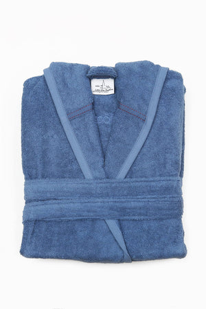 Organic Cotton Bathrobe For Men in Blue