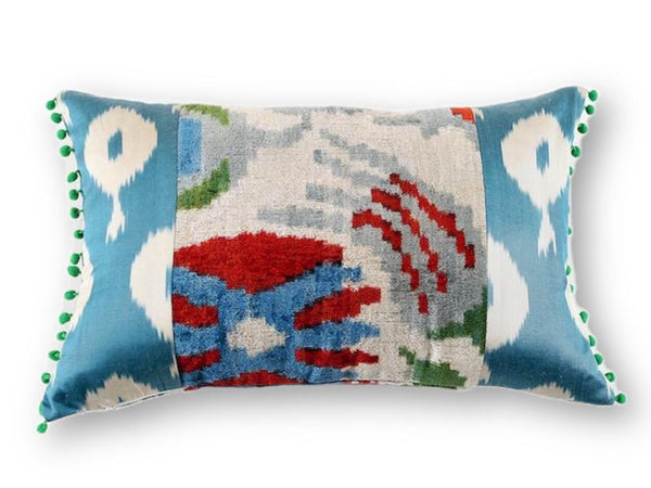 Ikat Green Pompom Pillow - Letters From Bosphorus