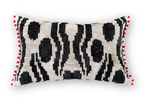 Ikat Red Pompom Pillow - Letters From Bosphorus