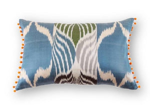 Ikat Melon Pompom Pillow - Letters From Bosphorus