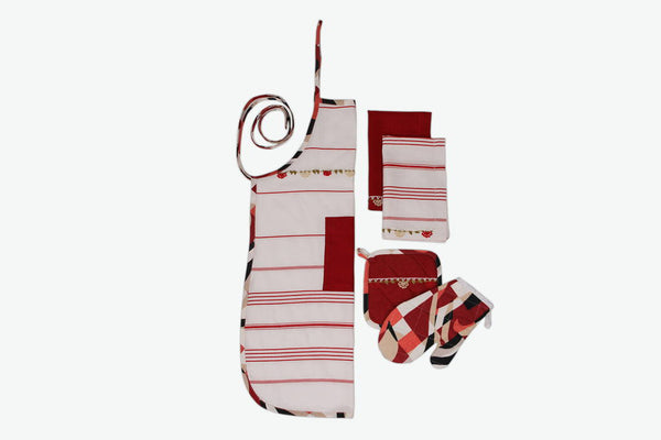 Striped Red Kitchen Linen Set - Letters From Bosphorus