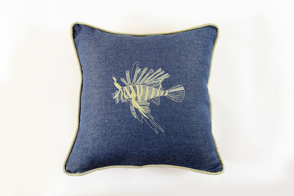 Lionfish Embroidered Pillow - Letters From Bosphorus