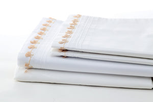 Mocha Petite Handmade Lace Organic Cotton Sheet Set - Letters From Bosphorus